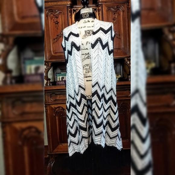 Serengeti Jackets & Blazers - Serengeti Black and White Crochet cover up plus 2x